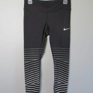 Nike Black Silver Stripe At Cuff Active Leggings